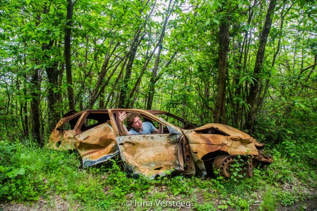 Forest, car wreck